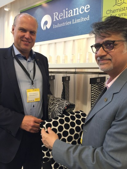 Textile Consultant Reinhard Backhausen, left, and Rakesh Bali of Reliance during Mood+Indigo.
