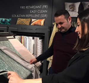 Burcu Sahin, Luks Kadife export & domestic sales manager, with customer Esref Rustemov of Kamiva in Georgia during Heimtextil.