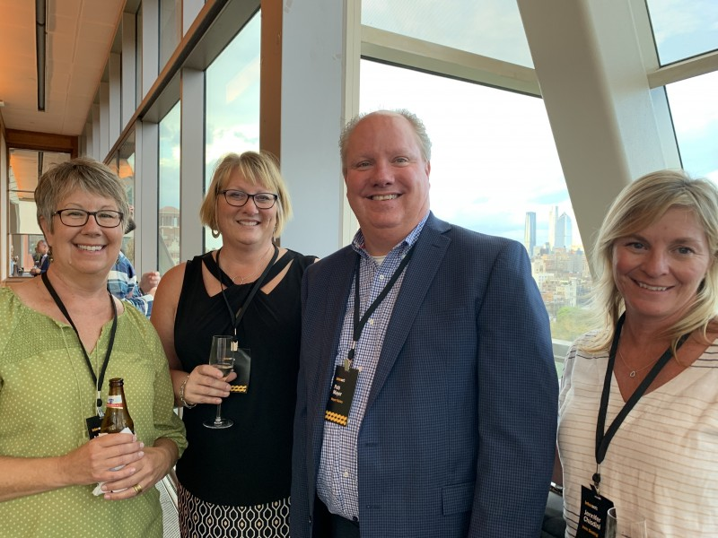 Anne Chapman (l to r), marketing coordinator at Irwin Seating in Grand Rapids, Michigan, Kim Glynn, buyer at Irwin Seating, Rob Mayer, president of Mayer Fabrics in Indianapolis, Indiana, and Jennifer Chiodini, director of supply chain at Irwin Seating.