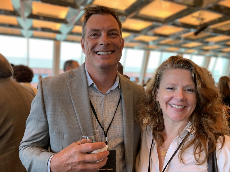 Peter Dow, senior account manager at Milliken & Co. in Grand Rapids, Michigan, and Andrea Babb, manager of product development at Luum Textiles in Toronto, Canada.