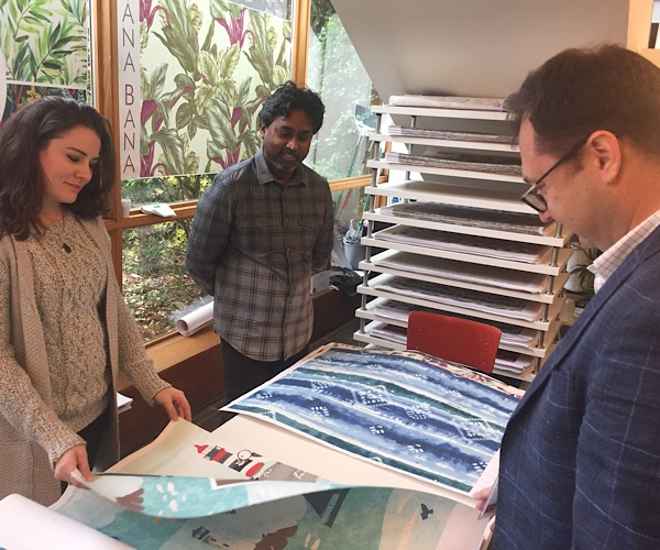 Sophie Marshall, (l to r), and Shreenie Vasan, owner of Tana Bana Design Studio in New York, and Ahmet Ikcuoglu, managing partner of Kacar Textile in Turkey